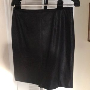Calvin Klein Black Faux Leather Skirt. Size 6